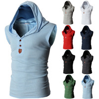 Wholesale vest tops for men - Men Sleeveless Vest Top Men Solid Hooded T-shirt Sport Shirts Man Basic T-shirt M-2XL For Summer