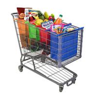 magasin d'épicerie achat en gros de-Sac à provisions de supermarché de chariot à chariot Sacs à provisions d'épaule de fourre-tout pliable Fourre-tout réutilisable qui respecte l'environnement met 4pcs / ensemble