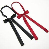 Wholesale Pretty Males - Woman new hot fashion pretty ribbon bowtie black red solid butterfly bowknot bow tie cravat for young male female