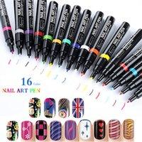 nail polish art pens toptan satış-3D Nail Art Kalem Resim Oje 16 Renkler Fransız Manikür Seti DIY UV Jel 3D Tasarımlar Nail Art Dekorasyon Güzellik Araçları Boya Kalemler
