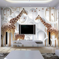 ingrosso carta da parati per bambini-Unico 3D View Giraffa Foto Wallpaper Cute Animal Wall Mural Art Wall Decor Paper Camera dei bambini Nursery Living Room Office Spedizione gratuita