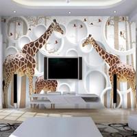 cuarto de papel tapiz único al por mayor-Unique 3D View Jirafa Foto Wallpaper Lindo Animal Wall Mural Arte Decoración de la pared de Papel Sala de niños Nursery Living Room Envío Gratis