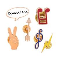 ingrosso spille di note musicali-Perni Spille Perni Bottoni Geometria Denim Giacca Pin Badge Creativo Cartoon abbigliamento vegetale Gioielli Regalo Diversa nota musicale all'ingrosso