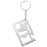überleben keychain werkzeug großhandel-Multifunktions-Werkzeugkarte Keychain Überlebenskarte Auto Keychain Tragbare EDC-Schlüsselanhänger Opener Gadgets Pocket Promotion Geschenke Autoschlüsselhalter