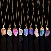 orijinal değerli taşlar toptan satış-Kristal Kuvars Şifa Noktası Çakra Boncuk Doğal Taş Kolye Orijinal Kolye Kadın Erkek Takı Kaplama Altın Zincirler Bildirimi Kolyeler