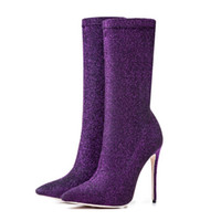 сапоги для ног оптовых-Customized models New pointed fashion flash  in the leg boots Stiletto popular purple boots Elegant temperament shoes
