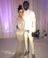 Wholesale Trumpet Style Maxi Dress - Evening dress Yousef aljasmi Kim kardashian Long sleeve O-Neck Beaded Mermaid Long dress Almoda gianninaazar ZuhLair murad Ziadnakad