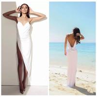 Wholesale wedding dresses open front white - 2018 Sexy Spaghetti Straps Side Split Wedding Dresses Bridal Gowns White Chiffon Open Back Sheath Column Beach Sheath Summer Cheap Dress