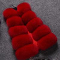 chalecos esponjosos al por mayor-Más el tamaño de las mujeres de felpa Faux Fox chaleco de la piel sin mangas gruesa cálida lujo mullido damas chalecos 2018 otoño invierno chaqueta abrigos