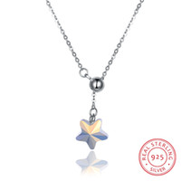 fine leather accessories 2018 - SHANKLAN Fashion Star 925 Sterling Silver Necklaces Shiny Crystal Pendant Necklaces Women Party Necklaces Fine Jewelry Simple Accessories