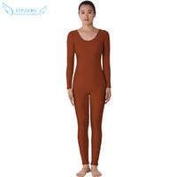 bodysuit spandex marrom venda por atacado-Lycra Marrom escuro Zentai Sem Cabeça Terno Spandex Pele Cheia de Corpo Inteiro Macacão Unitard Dancewear Bodysuit Trajes Para As Mulheres