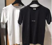 Wholesale Fashion Design S - Runway Fashion Letter Design Men's Casual Cotton short sleeve SAINT LAURE T Shirts Women Slim Asian size S-XL