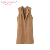 Wholesale plus size office jackets - Women Autumn Spring Wool Blend Vest Waistcoat Lady Office Wear Long Waistcoat Women Coat Casual Sleeveless Vest Jacket Plus Size