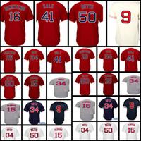 Wholesale boston grey - Boston Men's #15 Dustin Pedroia 16 Andrew Benintendi 50 Mookie Betts 9 Ted Williams stitched Baseball Jerseys Red White Grey Deep blue