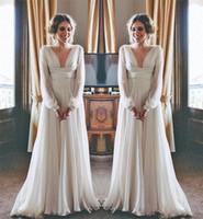 Wholesale wedding dresses chiffon greek style for sale - 2018 Hippie Boho Beach Wedding Dresses Long Sleeves V Neck Plus Size Chiffon Cheap Summer Maternity Country Greek Style Bridal Gowns