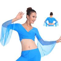 mavi göbek dansı toptan satış-2018 Sıcak popüler seksi kadınlar şifon göl mavi oryantal dans satışa dans kostüm elbise tops