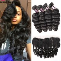 Wholesale online human hair extensions - Hot Brazilian Peruvian Malaysian Indian Loose Wave Ishow 8A Human Hair Extensions 3Bundles With Lace Frontal Cheap Weave Online Wholesale