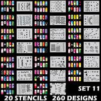 airbrush nagel schablone designs großhandel-Body Art Airbrush Nail Art Schablonenset 11 mit 20 Schablonenvorlagen Designblättern 260 Designs
