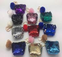Wholesale key bag zipper for sale - Mermaid Sequin Key Chain Coin Purses With Cute Plush Ball Sequin Glitter Mini Zipper Earphone Coin Wallet bags Party Favor GGA1356