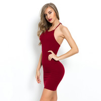 ingrosso vestito di cotone giallo per le donne nere-Donne Sexy Club Backless Spaghetti Strap Summer Dress Cotton Ladies Elastico Bodycon Nero Giallo Party Mini Abiti Vestido