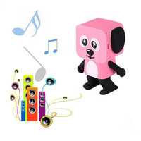 Wholesale kids mini music player - Mini Dancing Dog Bluetooth Speaker Portable Wireless Subwoofer Stereo Music Player Best Gift For Kids With Mic Retail Box Better Charge 3