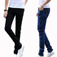 Wholesale Thin Male Body - LEFT ROM 2018 fashion men Pure color leisure comfortable The cowboy trousers high-grade male Thin body The cowboy Long pants