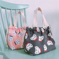 Wholesale lunch handbags resale online - YILE Lining Drawstring Cotton Canvas Handbag Lunch Pouch Cat Head Black Pink GD02