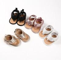 zapatos de 24m al por mayor-Moda Bebé Niña Sandalias Niños Botas Brillantes Borlas de Oro Zapatos de Gladiador Peep toe Negro Oro Plata Rosa 2018 Verano 3m-24M