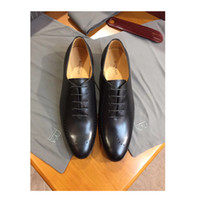 Wholesale cowhide heels - Brand designer Tie shoes, dumb cowhide, Hollowed out pattern Dermis sole Black Leather Shoes size:38-44