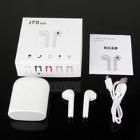 coffret casque achat en gros de-I7S TWS i9 Casque Bluetooth avec chargeur Twins écouteurs sans fil pour iPhone X IOS iPhone Android Samsung avec le paquet de vente au détail