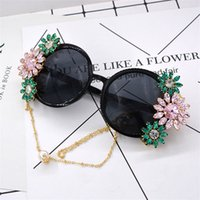 Wholesale chain sunglasses wholesale - Metal Sunglasses Nightclub Round Diamond Insert Female Chain Designer Glasses Easy Carry Pearl Decorate Ornaments Eyeglasses 60 99nt ccWW