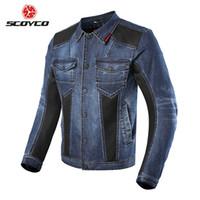 chaquetas de nylon motocicleta hombres al por mayor-Chaqueta SCOYCO Motocicleta Hombres Chaqueta de Motocross Denim Engranaje de Equipo de Protección Moto Ropa de Moto Chaqueta Moto