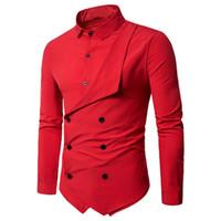 blusas estilo europa venda por atacado-Camisa de Festa de Casamento Estilo Europa Homens Moda Blusa Vermelha Cor Sólida Maré Dupla Breasted Camisas Magros Tops de Alta Qualidade Masculina