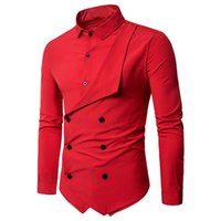 Wholesale europe style long sleeve blouses - Europe Style Wedding Party Shirt Men Fashion Red Blouse Solid Color Tide Double Breasted Shirts Slim High Quality Male Tops