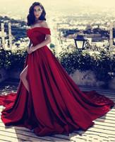 vestidos de noche de satén rojo cuello v al por mayor-Rojo oscuro del hombro Vestidos largos de satén para la noche 2019 Vestidos de fiesta sexy con escote en V y escote en pico Vestidos De Fiesta BA6777