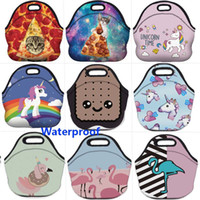 Wholesale thermal insulated cooler bags online - 3D Thermal Insulated Lunch Box Emoji Unicorn Flamingo Waterproof Neoprene Picnic Snack Bags Cooler Storage Containers Organization HH7