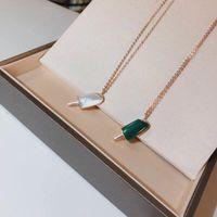abalone shell halsketten anhänger großhandel-S925 reines Silber Charm Popsicle Anhänger Halskette mit Shinning Diamanten und Natur weiß Shell oder Malachit Halskette alle passenden Stil Mi