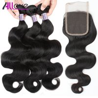 Wholesale best straight weave hair resale online - Best A Brazilian Hair Body Wave with Lace Closure Malaysian Straight Closure Peruvian Hair With Closure