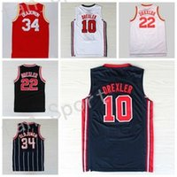 Wholesale Usa Vintage - Retro Basketball Jerseys 34 Hakeem Olajuwon 22 Clyde Drexler Throwback Vintage 1992 USA Dream Team Red Navy Blue White Stitched With Name