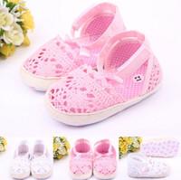 sapatos de malha de bebê venda por atacado-Bebês bonitos recém-nascidos menina verão sapatos infantil bebê meninas malha sola macia antiderrapante sapatos de berço princesa