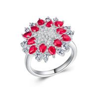 regalos para ruby aniversario de boda al por mayor-Exquisita mujer Ruby Gemstone Cz Anniversary Jewelry 925 Boda rellena con anillo de plata para el regalo Promesa tamaño del regalo 6-10