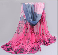 Wholesale Thin Gold Belts - 2018 rose print chiffon polyester scarves woman thin shawl turban belt hijab fashion arabic scarfs wrap