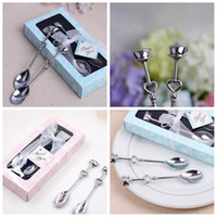 Wholesale heart spoon fork set for sale - Group buy 2PCS SET mini Stainless Steel Delicate coffee Spoon Love Heart Wedding Favor Party Gift Creative hollow Wedding Supplies FFA447