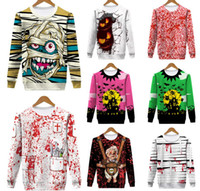 Wholesale wholesale sports clothes for sale - 10styles Halloween cartoon printed hoodies round neck Hoodies Sweatshirts Cosplay Pullover costume sport long sleeve clothes FFA889