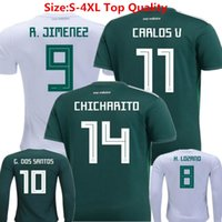 Wholesale Long Sleeve Kids Shirts - Soccer Jersey Mexico 2018 World Cup Football Shirts Chicharito Lozano Dos Santo C.VELA Mexico Green Long Sleeve camisetas Kids Woman Uniform