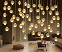 Wholesale ball ceiling online - luxury LED Crystal ball Chandeliers head Pendant Lamp for Stairs Duplex Hotel Hall Mall with LED G4 lamps DIY Ceiling droplight Lighting