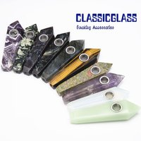 Wholesale Fluorite Crystals - DHL Natural Colorful Fluorite Quartz Crystal Wand Point Free Smoking Pipes Natural pipes Stone Tobacco Hand Pipes