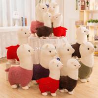 dolmalık palyaço oyuncakları toptan satış-Llama Arpakasso Dolması Hayvan 28 cm / 11 inç Alpaka Yumuşak Peluş Oyuncaklar Çocuklar için Kawaii Sevimli Noel hediyesi 6 renkler C5129