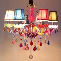 colorful chandeliers 2018 - Modern colorful rainbow color crystal chandelier pendant lamp children kids bedroom dinning room ceiling lamp