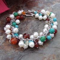 pulseira de pérola azul branco venda por atacado-B013053 8